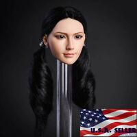 "1/6 Female Head Sculpt Black Hair For 12"" PHICEN Hot Toys Verycool Figure ❶USA❶"
