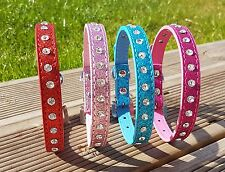 Dog Collars PU Leather Puppy Sparkle Fancy Girl Small Diamond Stud Bling UK Cute