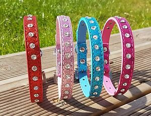 Dog Collars PU Leather Puppy Sparkle Diamante XS Small Medium Diamond Stud Bling