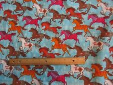 2 Yards Girly Blue with Multicolored Running Horses  Flannel Fabric