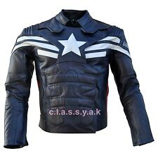 Classyak Mens Captain America New Soldier Motorbike Real Leather Jacket Xs-5xl