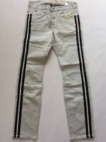 G By Guess Men's Moto Inspired Skinny Jeans With Black Striped Sides Size 34