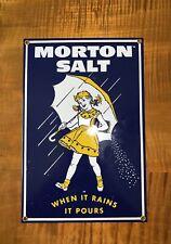 Ande Rooney Porcelain Sign Morton Salt Enameled Advertising Sign 12x8