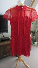 Vestido Corto Sandro (París) Forrado De Manga Corta de Encaje Rojo Talla 1