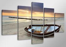 Tableau Mer Océan Bateau barque  5 partie Image sur toile 100 x 50 cm