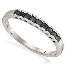 Black Diamond Band Sterling Silver .25ct .925 Diamond Custom Ring Size 10.5