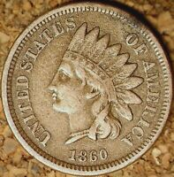 1860 Indian Head Cent (CN) - POINTED BUST, RAW AS SHOWN, LOW PRICE (M082)