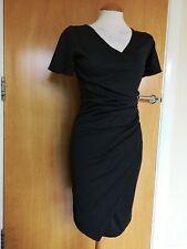 Ladies MAKADAMIA Dress Size 6 8 Black Wiggle Pencil Stretch Office Work