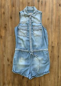 GUESS Size XS Playsuit in a Soft Blue Denim with Adjustable Waist Women's DEC35