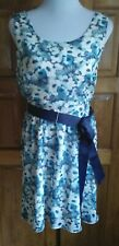DressNStyle CHARLOTTE RUSSE Green & Blue Floral Mini Casual Dress with Belt