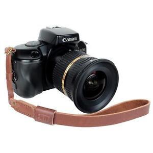 Genuine Leather DSLR Camera Wrist Strap Canon Nikon Pentax Sony Dark Brown Choco