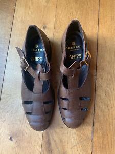 GRENSON SHIPS Brown Leather Dress Sandal Shoes U.K. Size 7.5