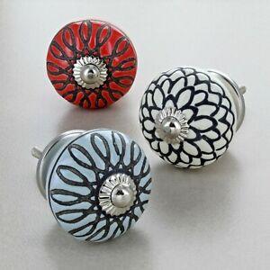 Etched Flower Ceramic Door Knobs