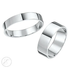 9ct White Gold Rings His-Hers 4mm & 6mm Flat Wedding Rings