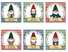 Grumpy Gnomes Christmas Xmas Cards Set of 6 Kitsch Cute Bah Humbug Presents