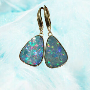 Fire Works Colorful 100% Australia Doublet Opal Earrings Dangler 9K Gold 2.42G