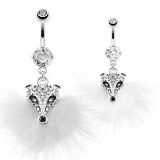"""Belly Button Ring  Multi Paved Gem Furry Fox Fancy Navel   14g 3/8"""""""