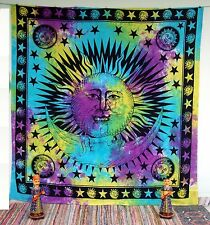 Queen Brown Hippie Bohemian Indian Mandala Sun Moon Tapestry Bedspread Beach