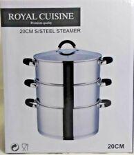 Royal Cuisine 3 Tier 20cm Steamer Set Food Vegetable Steam Pot Set Glass Lid New