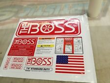 BOSS Snow Plow Straight Blade NEW Decal Replacement 10pc Kit Blade Warning