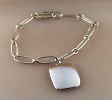 Tiffany & Co. Elsa Peretti Spain Silver Tag Charm w/Elongated Oval Link Bracelet