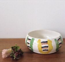 T. Irene Signed Hand Painted Pottery Bowl Retro Style 1960's Uber Cute Whimsical