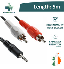 3.5mm 5m Stereo Jack to 2 Twin RCA Phono Male Cable TV PC Aux Audio Red White