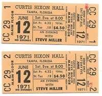 Steve Miller Concert Ticket Set of 2 1971 Tampa Yellow