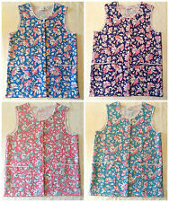 NEW LADIES BUTTON FRONT TWO POCKET FLORAL TABARD OVERALL CLEANING APRON WORKWEAR