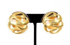 CHANEL Vintage Gold Swirl & Lucite Clip Earrings
