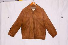 Californian Brown Suede Zip up Jacket Men's Size 42 Slash Pockets Lined Vintage