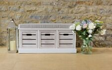 White Three Drawer Wooden Crate Bench Slatted Seating Hallway Bedroom Storage