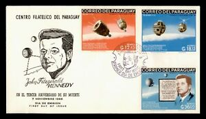 DR WHO 1966 PARAGUAY FDC JOHN F KENNEDY JFK SPACE CACHET IMPERF COMBO  g02260