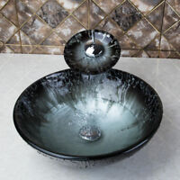 Tempered Glass Hand Painted Bathroom Sink Wash Basin Chrome Mixer Taps Combo