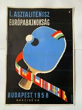 Table Tennis European Championships 1958 Budapest poster