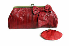 Red Vintage Handbag Leather Eel Skin Clutch Bag with Purse by Bobelle
