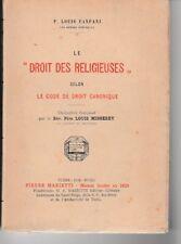 FANFANI - LE DROIT DES RELIGIEUSES SELON LE CODE CANONIQUE - LIVRE ANCIEN RARE