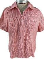 Talbots blouse top size L large stretch red white stripes short sleeve 2 pockets