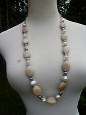 Silver Tone Beads Lovely Necklace. Chico'S. New with Tag.Natural Beaded