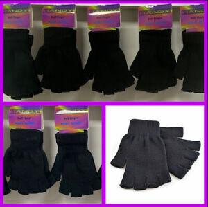Mens / Ladies / Girls / Boys Lot Black Fingerless Gloves acrylic/nylon/spandex
