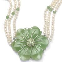 1.20 TCW Jade and Freshwater Pearl Necklace in .925 Silver