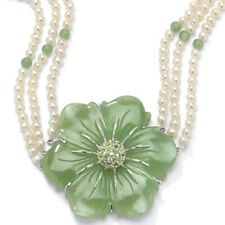 PalmBeach Jewelry 1.20 TCW Jade and Freshwater Pearl Necklace in .925 Silver