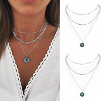 Boho Women Multilayer Choker Necklace Turquoise Chain Pendant Silver Jewelry