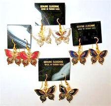 Vintage 1980's Cloisonne Enamel Butterfly Gold Tone Earrings (1 pair)