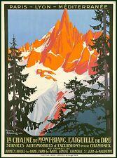 La Chaine Du Mont Blanc France French Vintage Travel Advertisement Art Poster