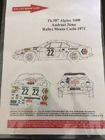 DECALS 1/43 ALPINE RENAULT A110 ANDRUET RALLYE MONTE CARLO 1971 RALLY WRC