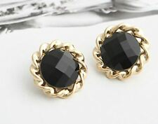 GOLD TONE  ROUND STUD EARRINGS WITH BLACK FACETED BEAD