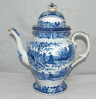 ANTIQUE BLUE & WHITE DECORATED PEARLWARE ORIENTAL CHINESE DECORATION TEAPOT