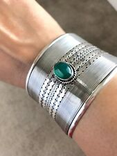 STERLING SILVER CUFF handmade in Bali with GREEN ONYX  82 grms FREE SHIPPING!!
