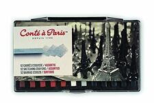 Conte Carres Sketching Crayons - 12 Assorted Tonal Earth Colours